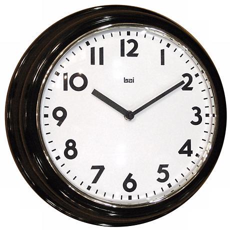 "Retro Black 13"" Wide Wall Clock"