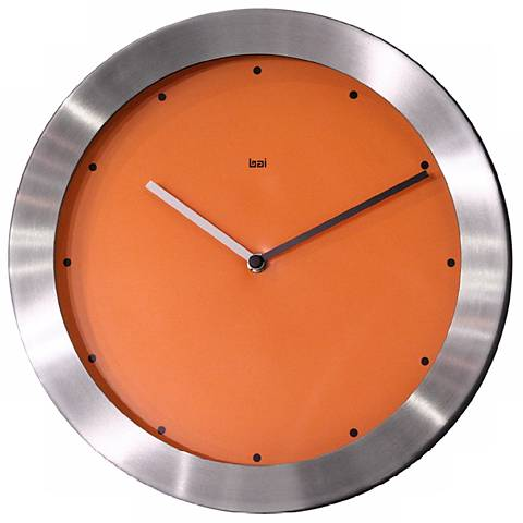 "Aluminum and Orange 11"" Wide Wall Clock"