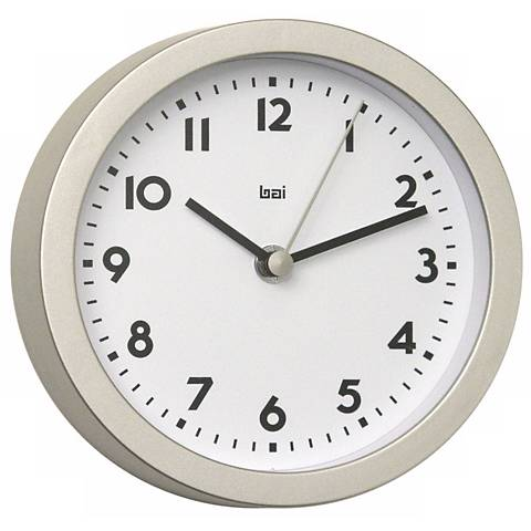 "Landmark Brushed Aluminum Finish 6"" Wide Studio Wall Clock"