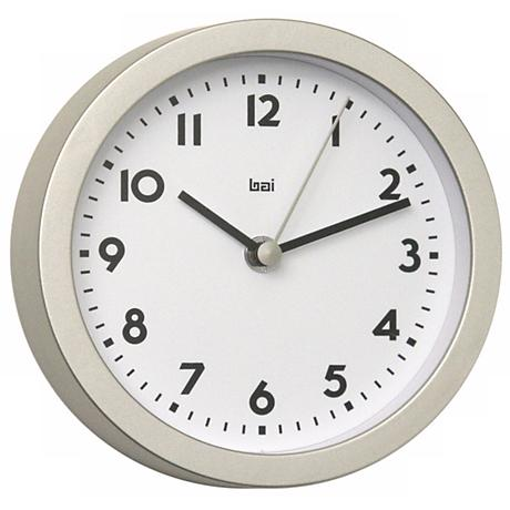 "Landmark Brushed Aluminum Finish 6"" Wide Studio Wall Clock"