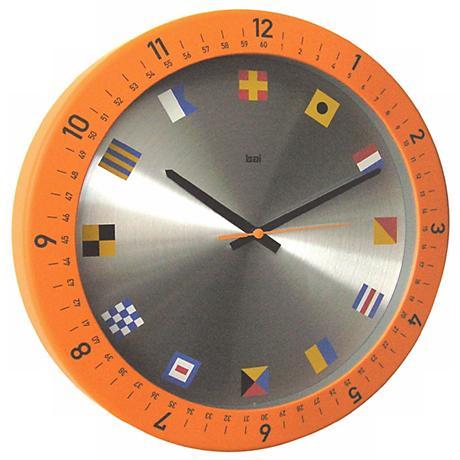 """Oceanmaster Orange 14 1/2"""" Wide Wall Clock"""