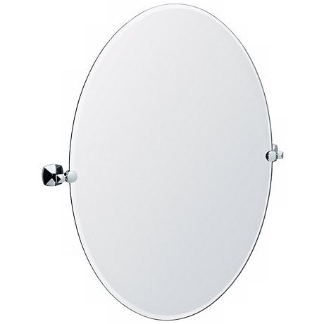 "Gatco Jewel Chrome Finish Oval 32"" High Tilt Wall Mirror"