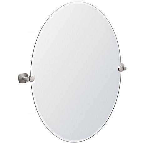 "Gatco Jewel Satin Nickel Oval 32"" High Tilt Wall Mirror"