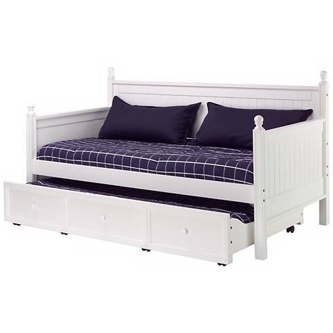 Casey White Twin Trundle Daybed