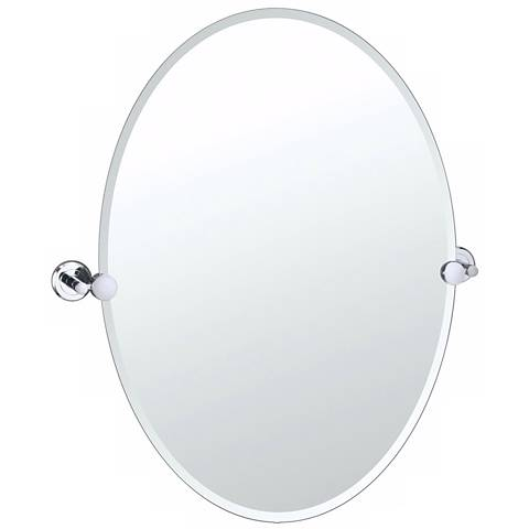 "Gatco Latitude 2 Chrome Finish 26 1/2"" High Oval Wall Mirror"