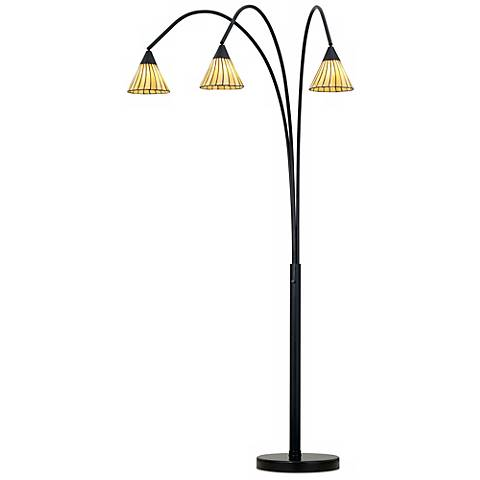 Archway Amber Lines 3-Light Tiffany Arc Floor Lamp