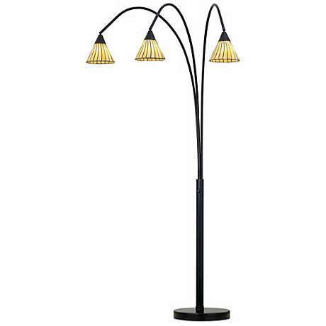 Archway Amber Lines 3-Light Tiffany Arc Floor Lamp