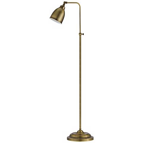 Antique Brass Metal Adjustable Pole Pharmacy Floor Lamp