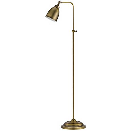 Antique Brass Metal Adjustable Pole Pharmacy Floor Lamp