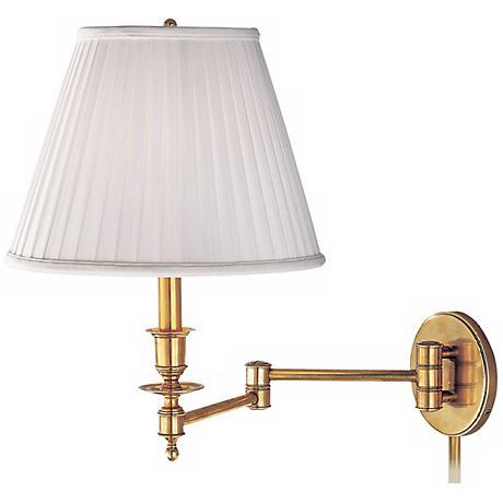 Newport Aged Brass Faux Silk Plug-in Swingarm Wall Lamp