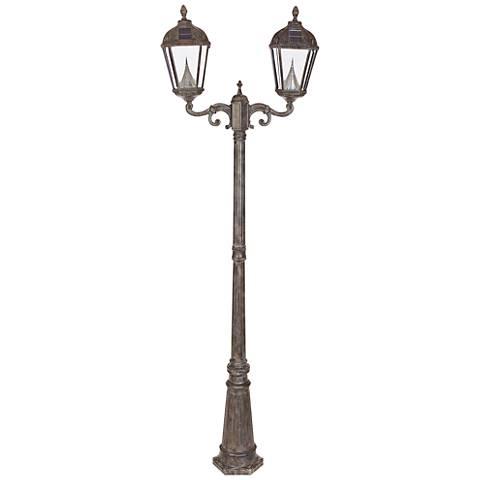 """Royal Bronze 89"""" High 2-Light Solar Powered LED Post Light"""