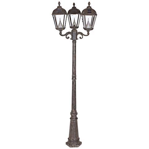 """Royal Bronze 89"""" High 3-Light Solar Powered LED Post Light"""