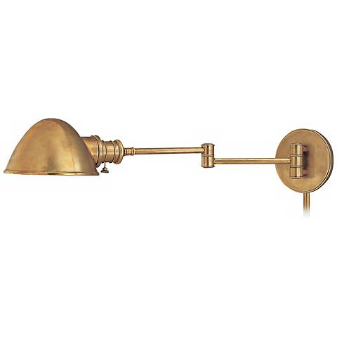 newport aged brass plug in swing arm wall light p9947. Black Bedroom Furniture Sets. Home Design Ideas