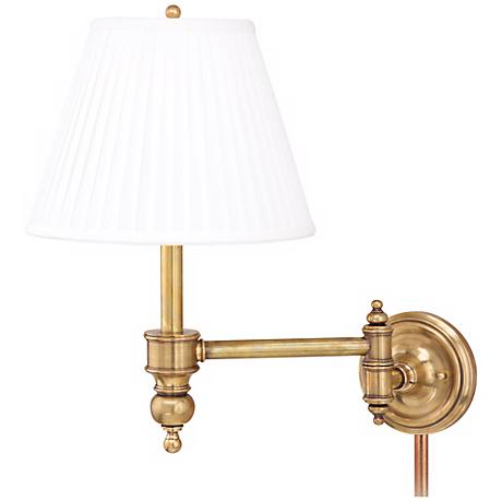 chatham aged brass plug in swing arm wall lamp p9968 lamps plus. Black Bedroom Furniture Sets. Home Design Ideas