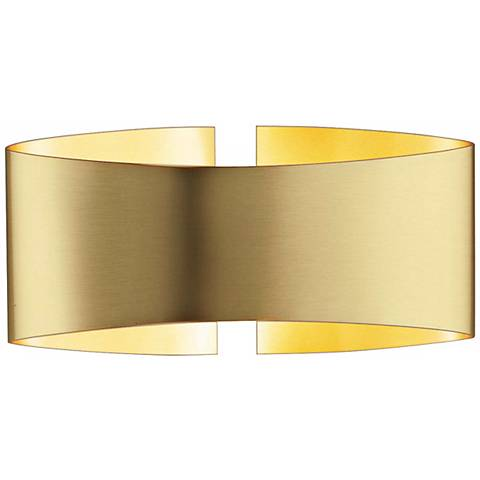 "Holtkoetter Voila 9 1/4"" Wide Brushed Brass Wall Sconce"