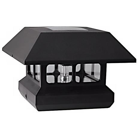 Black Finish Solar Powered LED Post Cap Light