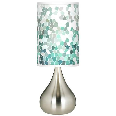 Aqua Mosaic Giclee Big Droplet Table Lamp