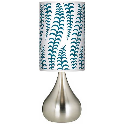 Stacy Garcia Fancy Fern Peacock Giclee Big Droplet Table Lamp