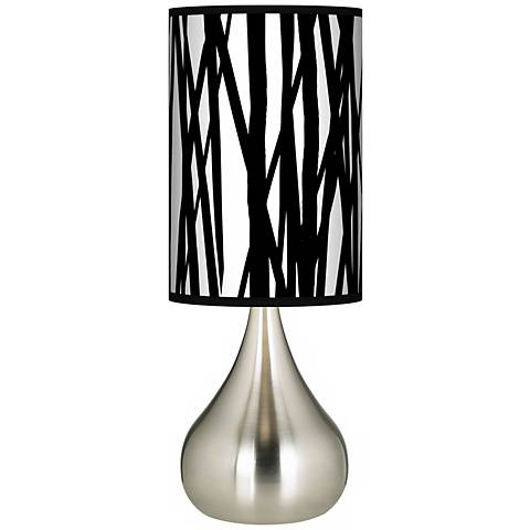 Black Jagged Stripes Giclee Big Droplet Table Lamp