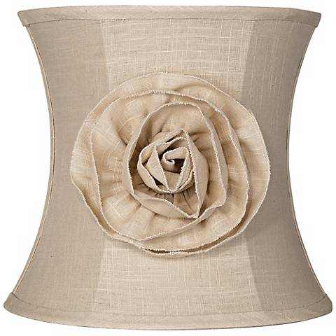 Almond Linen with Flower Drum Shade 11x12x11 (Spider)