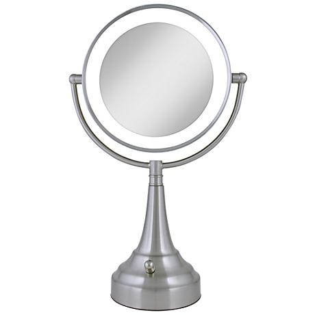 "Satin Nickel Finish LED 18"" High Round Vanity Mirror"