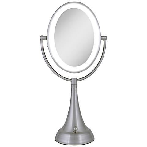 "Satin Nickel Finish LED 19"" High Oval Vanity Mirror"
