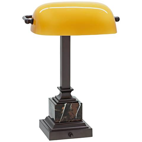 "House of Troy 13 3/4"" High Mahogany Bronze Piano Desk Lamp"