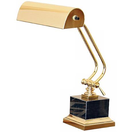 "House of Troy 12"" High Polished Brass Marble Piano Lamp"