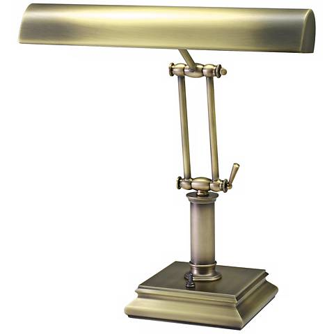 """House of Troy 14"""" High Brass Twin Arm Piano Desk Lamp"""