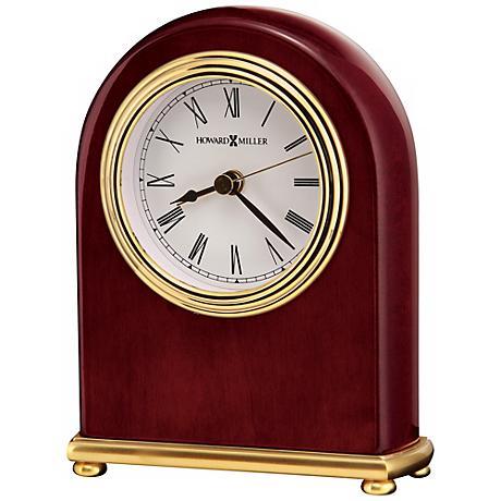 "Howard Miller Rosewood Arch 5"" High Tabletop Alarm Clock"