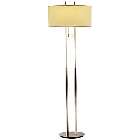 Duo light satin steel floor lamp r4603 lamps plus for Arabella 3 light satin steel floor lamp