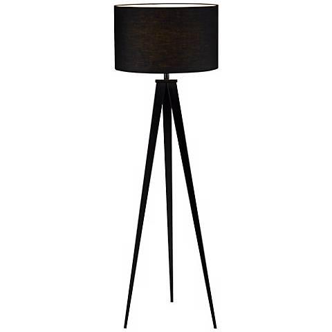 "Black Finish Tripod 65 1/2"" High Floor Lamp"
