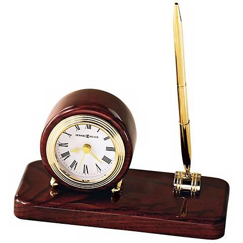 """Howard Miller Roland 6 3/4"""" Wide Desk Clock & Pen Set"""