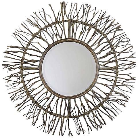 """Uttermost Birch Horizons 38"""" Round Wall Mirror"""
