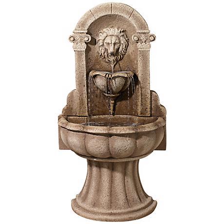 "Reconstituded Granite Lion 49"" High Wall Basin Fountain"