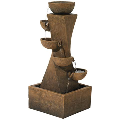 "Cascading Bowls 27 1/2"" High Water Fountain with LED Light"