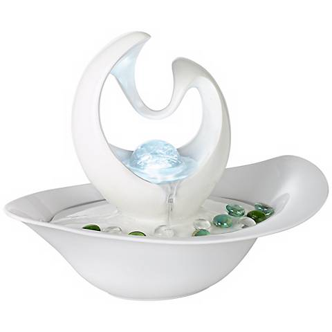 "Modern Abstract White 10"" High Table Fountain"
