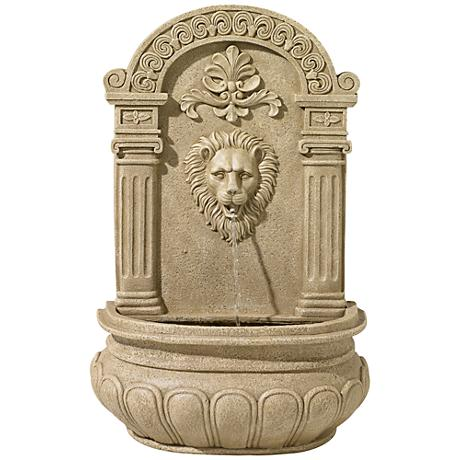 "Sand Finish Lion Face 31"" High Wall Fountain"