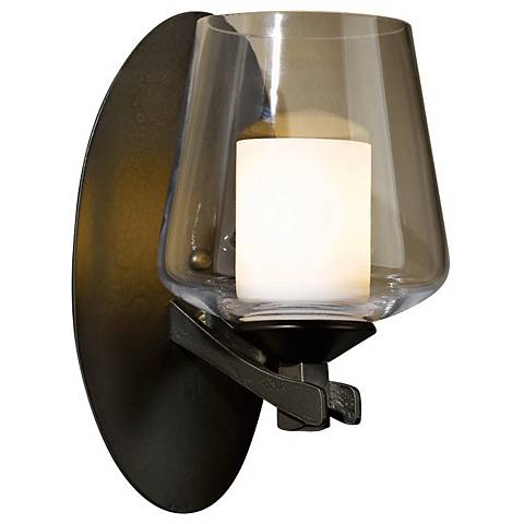 "Hubbardton Forge Ribbon Clear Opal 9"" High Wall Sconce"