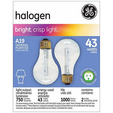 GE 43 Watt 2-Pack General Purpose Halogen Light Bulbs