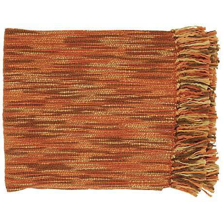 Surya Teegan Rust Brown and Camel Throw Blanket