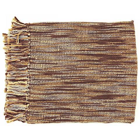 Surya Teegan Brown Gray and Ivory Throw Blanket