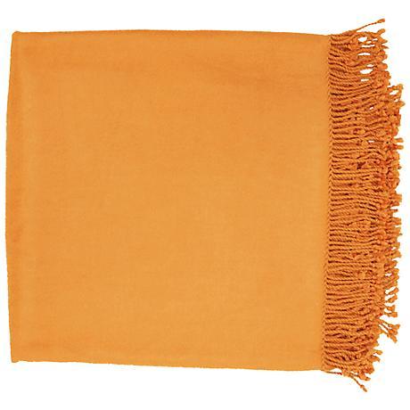 Surya Tian Tian Pumpkin Throw Blanket