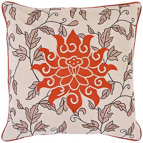 "Surya Orange Flower 18"" Square Accent Pillow"