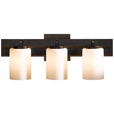 Hubbardton forge ondrian opal 3 light bath wall sconce r6908 lamps plus for Hubbardton forge bathroom lighting
