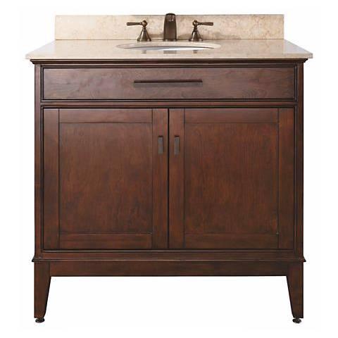 """Madison Tobacco 37"""" Wide Marble Top Sink Vanity"""