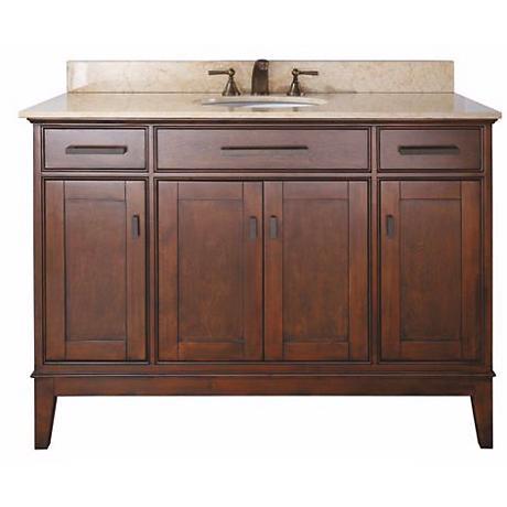 """Madison Tobacco 49"""" Wide Marble Top Sink Vanity"""