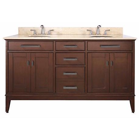 """Madison Tobacco 61"""" Wide Marble Top Sink Vanity"""