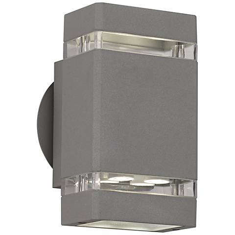 Matte Silver Gray 8 High Led Up Down Outdoor Wall Light