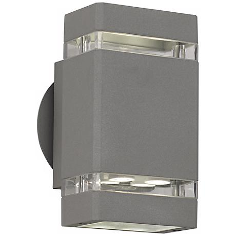 "Matte Silver Gray 8"" High LED Up/Down Outdoor Wall Light"